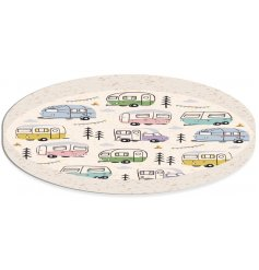 A large round bamboo tray featuring a Caravan Park themed printed decal