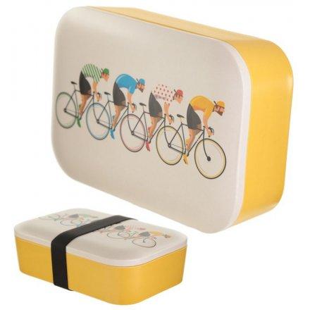 Yellow Bicycle Bamboo Bento Box