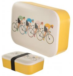 Brightly coloured and hard wearing, this eco friendly Lunch Box is complete with a Retro Biking inspired print