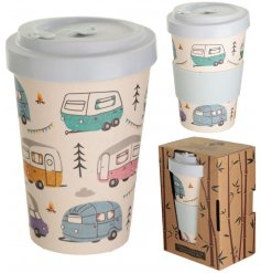 An eco friendly bamboo travel mug with a quirky printed caravan decal around it and additional bamboo cap lid