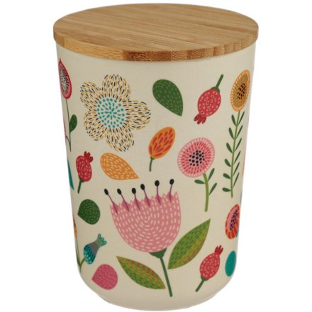 Perfect for safekeeping of trinkets and bits and bobs, this bamboo storage pot features a beautiful autumnal themed dec
