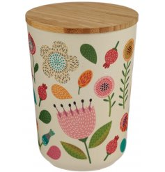 A medium sized storage pot made from eco friendly bamboo and covered with a pretty Autumnal floral decal
