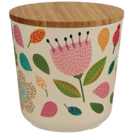Floral Autumn Bamboo Pot, Small