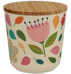 A small storage pot made from eco friendly bamboo and covered with a pretty Autumnal floral decal
