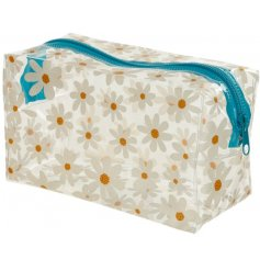 Covered with a charming daisy print, this clear toiletries bag also has a bright blue zip
