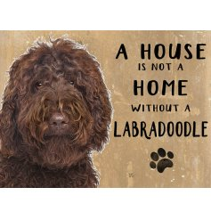 Complete with an adorable labradoodle printed picture and added scripted text