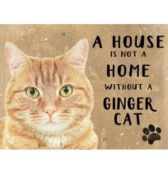 A small magnet with a distressed beige background and a cute Ginger Cat print