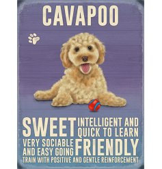 A metal sign featuring an adorable Cavapoo Decal