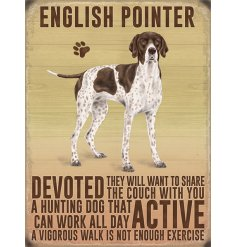 A metal sign featuring an adorable English Pointer Decal