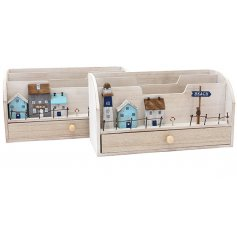 A quirky mix of natural wooden letter racks complete with a Coastal inspired decal on each
