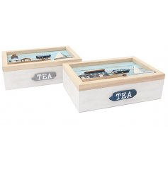 A mix of Coastal themed Tea Boxes made from natural wood