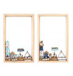 Bring a quirky coastal feel to any wall in your home with this mix of framed mirrors,