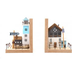 A quirky mix of natural wooden Book ends, complete with coastal tones and added charm