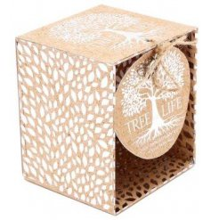 A beautifully packaged candle pot filled with delightfully scented wax,