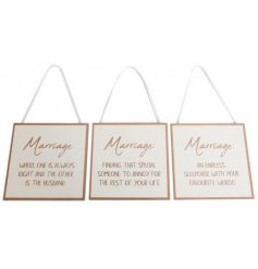 An assortment of scripted plaques, perfectly describing marriage