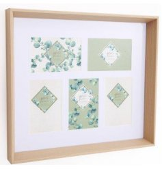 A contemporary wooden box frame with 5 photo frame spaces. A stylish eucalyptus design multi-frame