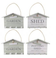 A charming mix of wooden wall plaques with added hooks from our new 'Potting Shed' range,