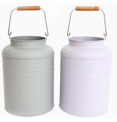 A mix of two Metal Milk Churns