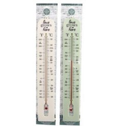 An assortment of White and Sage Green toned thermometers, complete with small text decals and a potting shed theme