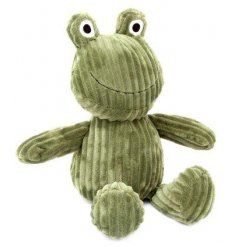A unique green frog doorstop with ribbed fabric and a charming face.
