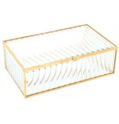 Store away your little trinkets or jewellery in one convenient place with this ridged glass storage box