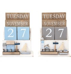 A quirky mix of natural wooden perpetual calendars complete with a Coastal inspired decal on each