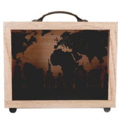 A natural wooden box with an added suitcase inspired look, perfect for saving up