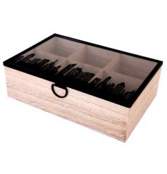 Keep all your assorted tea bags in one place with this City Skyline decorated box