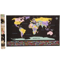 A large and colourful world map with an added scratch away feature