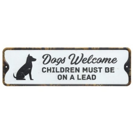 Dogs Welcome Vintage Plaque, 27cm
