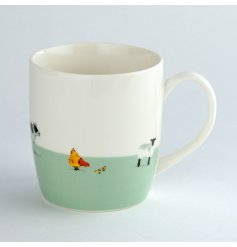 A charming watercolour farm animal illustration presented on a mug from the new Willow Farm range.