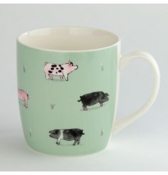 A charming watercolour pig illustration presented on a mug from the new Willow Farm range.