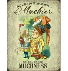 A quirky metal sign in a large size, featuring a classic scene from the Whimsical Alice In Wonderland story