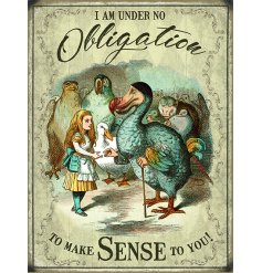A quirky metal sign featuring a popular scene from the Classic tale of Alice In Wonderland