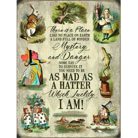 Alice In Wonderland Metal Sign - A Land Full Of Wonder
