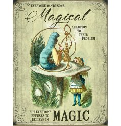 Printed with a Vintage inspired decal, this mini metal sign features a popular scene from the classic Alice In Wonder