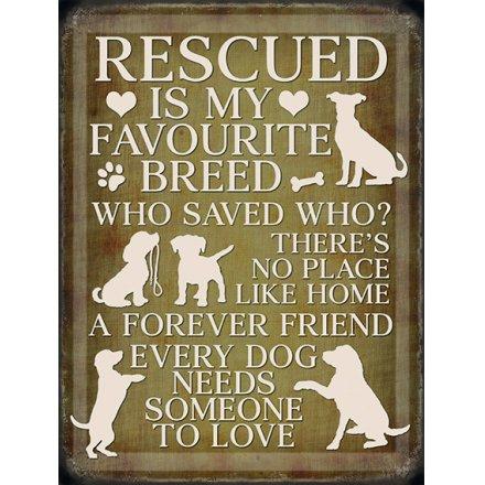 Mini Metal Sign - Rescue Dogs