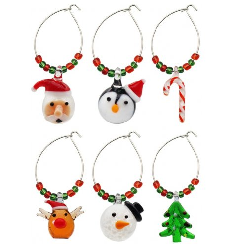 this set of 6 Glass Charm Rings are sure to add a festive wow factor to your beverages during Christmas