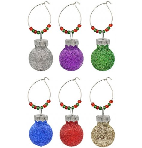 this set of 6 Glass Bauble Rings are sure to add a festive wow factor to your beverages during Christmas