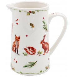 A beautifully decorated China Jug with an enchanting winter forest design including your favourite woodland animals.