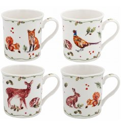A set of 4 winter forest China Mugs with a striking watercolour design featuring reindeer, hare, fox, hedgehog, squirrel