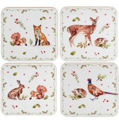 A set of 4 woodland coasters featuring assorted animals.