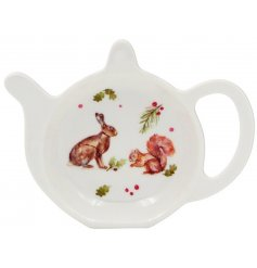 A practical tea bag tidy featuring a winter forest hare and squirrel. An attractive seasonal kitchenware item.