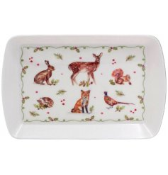 An enchanting small tray with a winter forest design including hare, fox, hedgehog, pheasant and more.