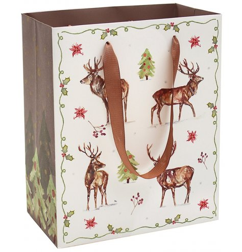 A fine quality seasonal gift bag featuring a stylish stag design. Complete with ribbon carry handle.