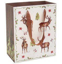 A charming winter gift bag with an attractive stag and holly design. Complete with ribbon handle to carry.