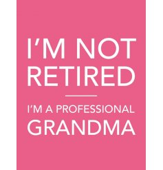 I'm not retired. I'm a professional Grandma. A lovely sentiment slogan sign with jute string hanger.