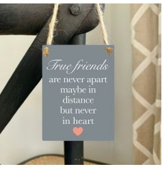 A chic mini metal slogan sign with a heartfelt friendship quote. Complete with jute string hanger.