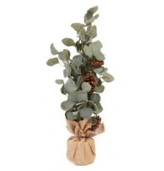 with its simplistic eucalyptus foliage and added pinecone trimming