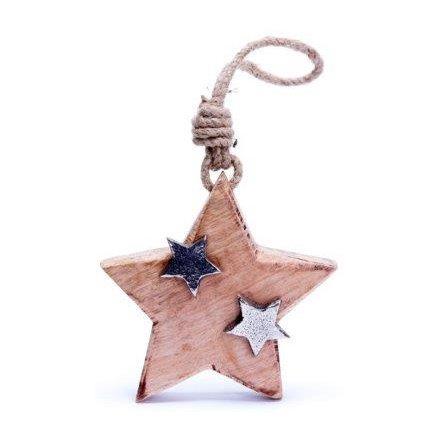 Wooden Star Hanger, 11cm